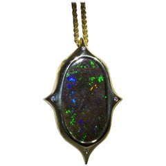 Australian Boulder Opal, Diamond and 18 Karat Gold Hand Fabricated Pendant