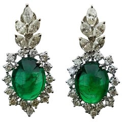 12.66 Carat Emerald Cabochon and Diamond 18 Karat Gold Earring