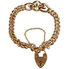 Antique Victorian Suffragette Heart Padlock, circa 1900 Bracelet
