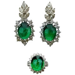 Cabochon Emerald and Diamond Earring and Ring Suite