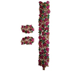 Carved Ruby, Emerald, Sapphire and Diamond 18K Gold Bracelet and Earring Suite