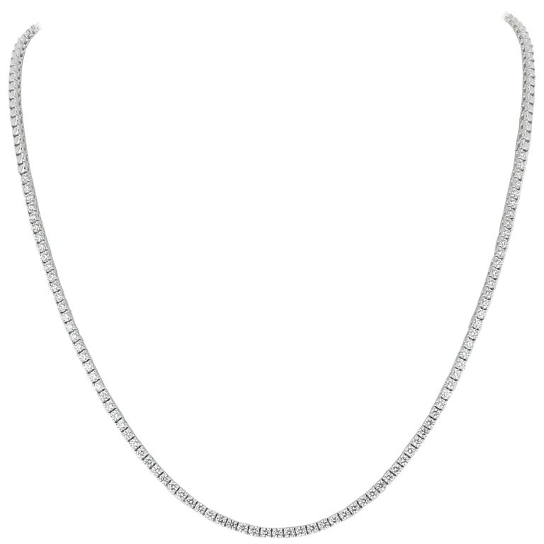 White Gold 18 Karat Diamond Riviera Necklace Weight 2.65 Carat