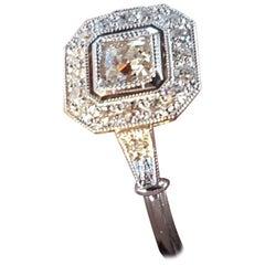 Octagon Diamond Platinum Halo Engagement Ring