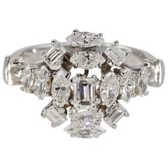 Midcentury Quite Unique and Distinctive Diamond Cluster Ring