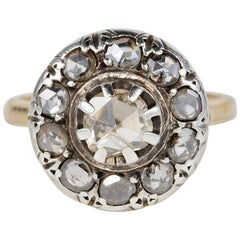 Victorian Rose Cut Diamond Rare Cluster Ring