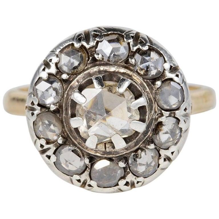 Victorian Rose Cut Diamond Rare Cluster Ring