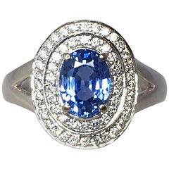 Vivid Ceylon Blue Sapphire Diamond 18 Karat White Gold Cluster Cocktail Ring