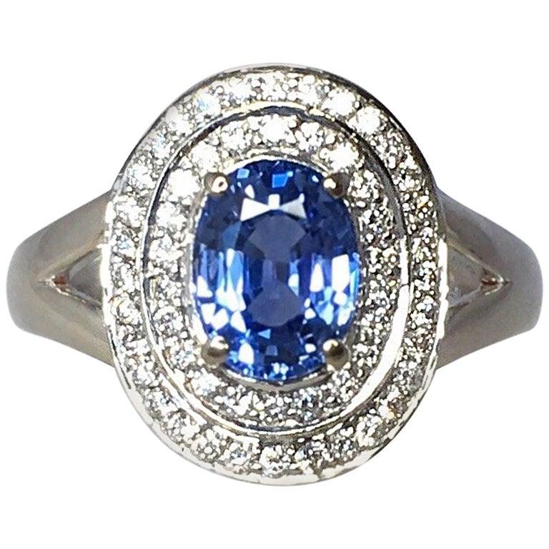 Vivid Ceylon Blue Sapphire Diamond 18 Karat White Gold Cluster Cocktail Ring
