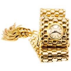 Gubelin 1950 Gold Mesh Tassel Mistery Wristwatch Gold Bracelet