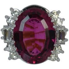 10 Carat Pink Tourmaline and VS Diamond 18 Carat Gold Cluster Ring