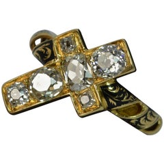 1.60 Carat VS Old Cut Diamond 18 Carat Gold and Enamel Cross Mourning Ring