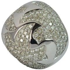 3.60 Carat Diamond 18 Carat White Gold Cluster Cocktail Ring