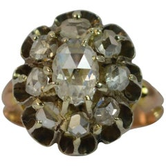 Antique Rose Cut Diamond Cluster 15 Carat Rose Gold Ring