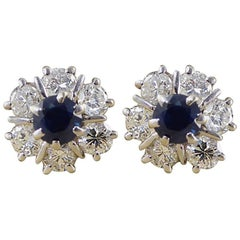 Sapphire and Diamond 18 Carat White Gold Vintage Cluster Stud Earrings