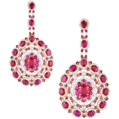 Ruby 17.69 ct and 5.74 ct Diamond Statement Earrings