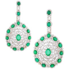 Zambian Emerald 10.26 ct and 9.62 ct Diamond Statement Earrings