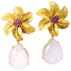Ansuini 1980 Floral Pendant Rubies Lavender Drop Gold Earrings