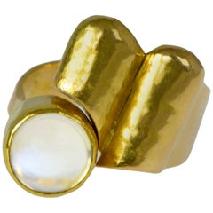 1960s Christa Bauer, Modernist Moonstone and Gold Ring