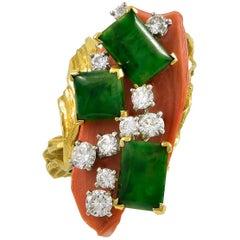 Cartier Diamond, Jade, Coral Ring