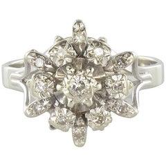 French 1970s Retro Diamond 18 Karat White Gold SnowFlake Engagement Ring