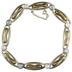 Victorian French Diamond Pearl 18 Carat Bracelet, circa 1900