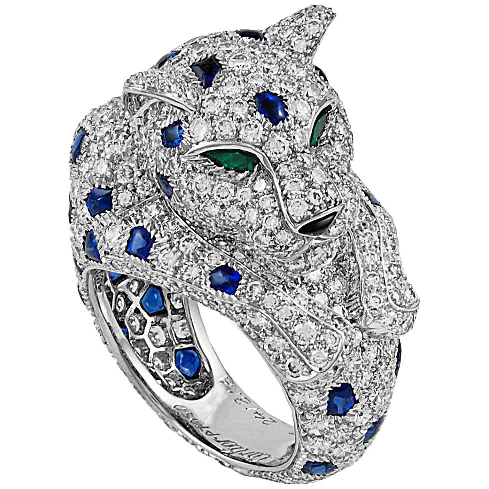 Cartier Diamond, Sapphire, Onyx and Emerald Panther Ring