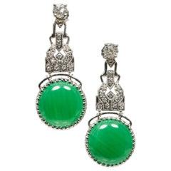 GIA Certified Jadeite Jade Old Mine Diamond Platinum Dangle Earrings