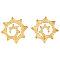 Angela Cummings Gold and Diamond Swirl Earrings