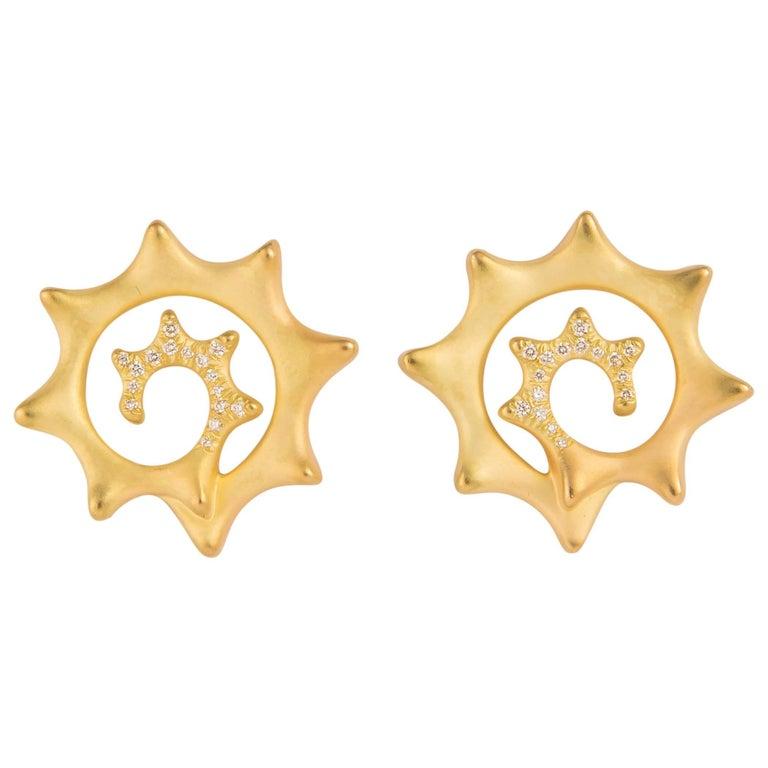 Angela Cummings Gold and Diamond Swirl Earrings