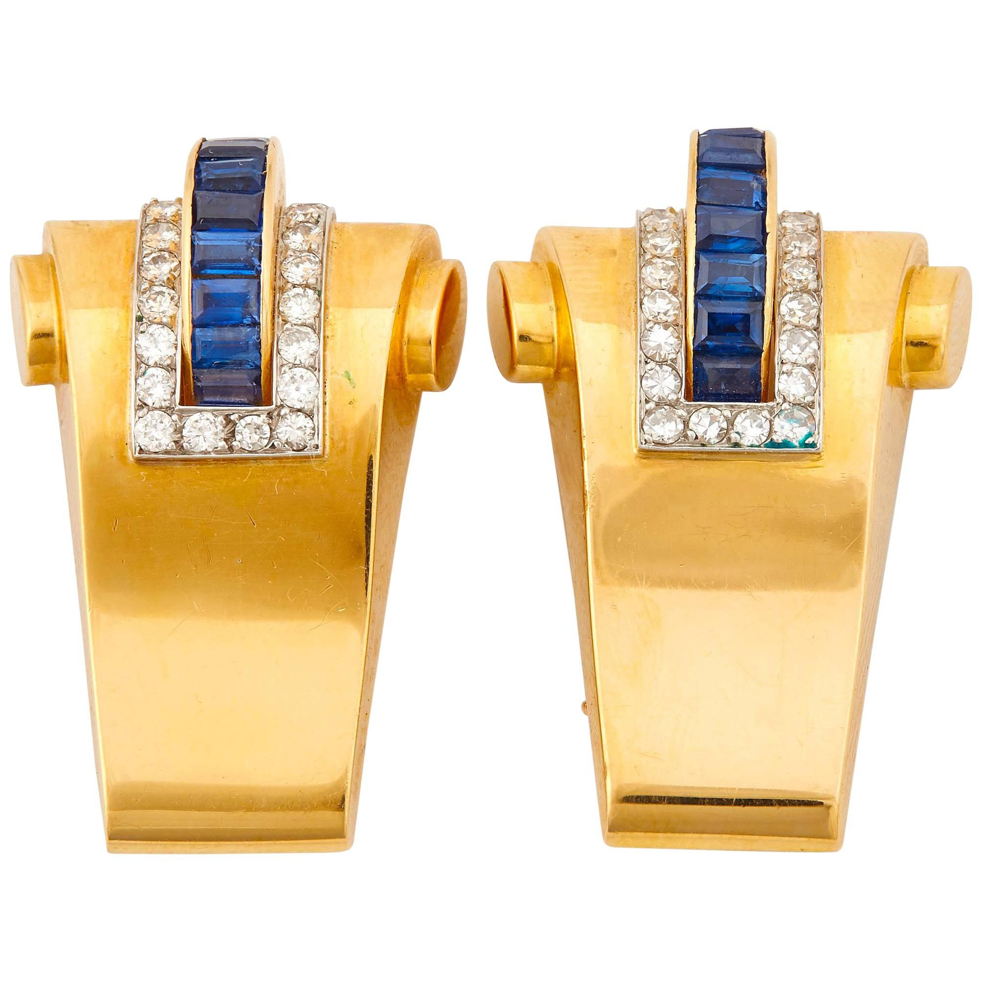 Boucheron 18K Yellow Gold Diamond and Sapphire Double Clips Brooch Retro 1940s