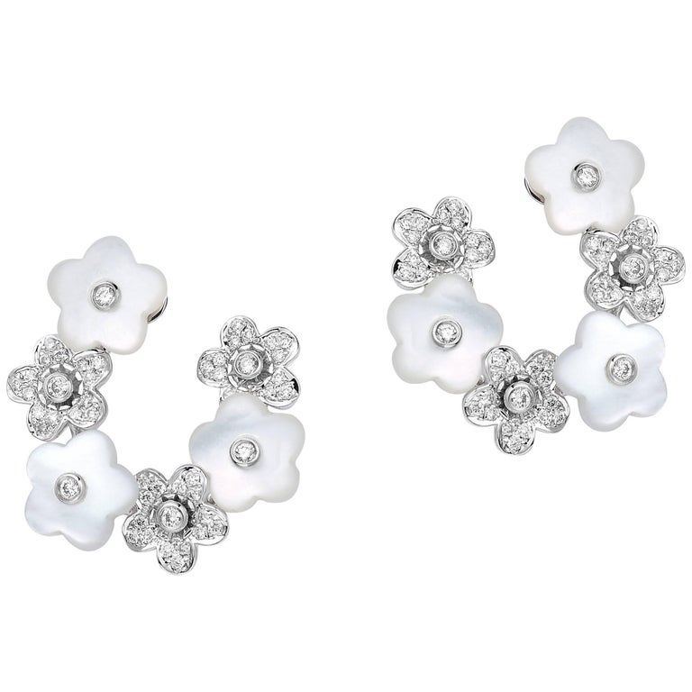 Fei liu Mother Of Pearl and Diamond-Set 18 Karat White Gold Flower Stud Earrings