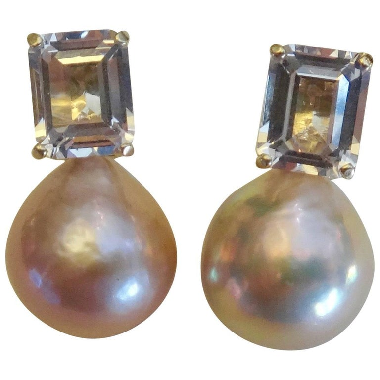 Michael Kneebone Pink Kasumi Pearl White Topaz Earrings