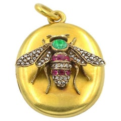 Victorian French Antique Locket in 18 Karat with Emerald, Rubies and Diamonds