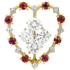 Cartier Ruby and Diamond Platinum and 18 Karat Gold Heart Brooch
