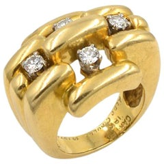 Vintage Cartier Aldo Cipullo 18 Karat Gold and Diamond Ring from 1971