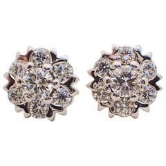 18 Karat White Gold Snowflake Style Earrings with 1.42 Carat of Diamond