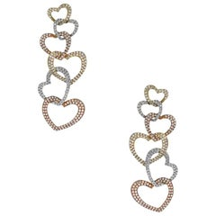 Tri Color Diamond Heart Dangle Earrings Earrings