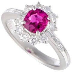 Ruby and Diamond Platinum Flower Ring