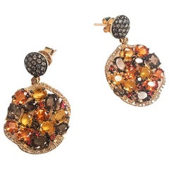 Ladies 14 Karat Yellow Gold Multi Colors Stone and Diamond Earrings