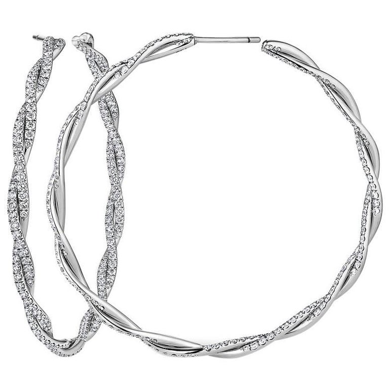 Diamond and Gold Twisted Hoop Earrings