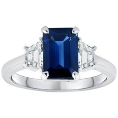 2.39 Carat Blue Sapphire and Diamond Three-Stone Engagement Ring