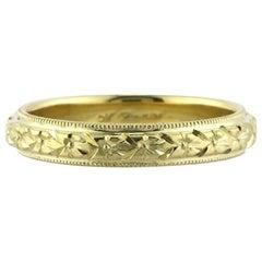 Mark Broumand Women's Hand Engraved Wedding Band in 18 Karat Yellow Gold