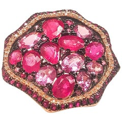 Ladies 14 Karat Rose Gold Pink Sapphire and Rubies Ring with Diamonds