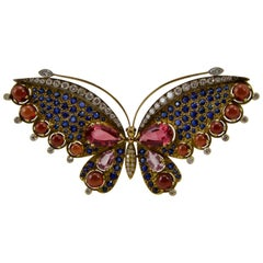 French Multi-Gem Butterfly Pin