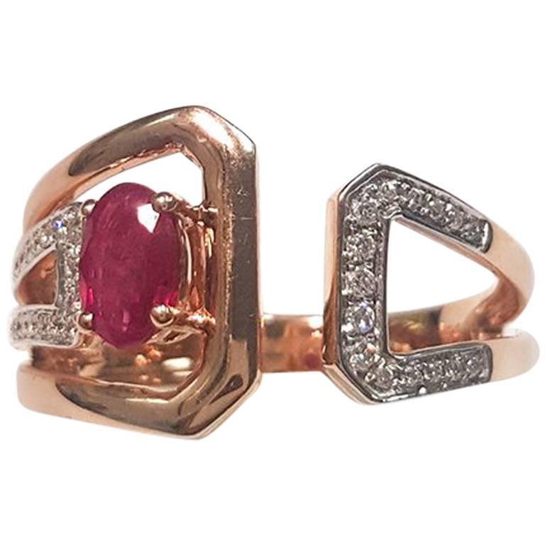 Ladies 14 Karat Rose Gold Ruby and Diamonds Ring