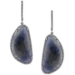 Mark Broumand 28.18 Carat Sapphire and Diamond Dangle Earrings