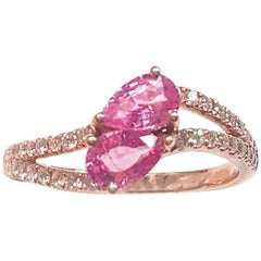 Ladies 14 Karat Rose Gold Pink Sapphire and Diamonds Ring