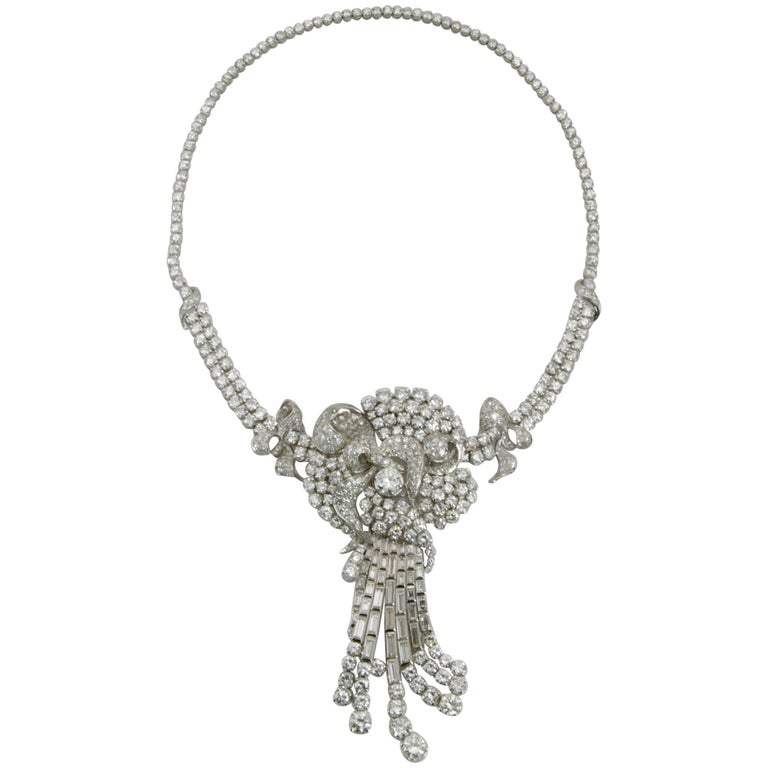 Diamond Platinum Brooch Necklace