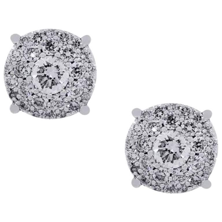 Round Brilliant Diamond Cluster Halo Stud Earrings