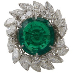 Emerald Diamond Platinum Cocktail Ring